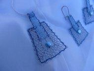 Set lichoběžník stříbrný s modrým - náhrdelník + náušnice