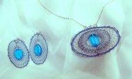Set ovál modro-stříbrný - náhrdelník + náušnice