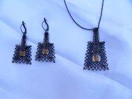 Set lichoběžník černý - náhrdelník + náušnice