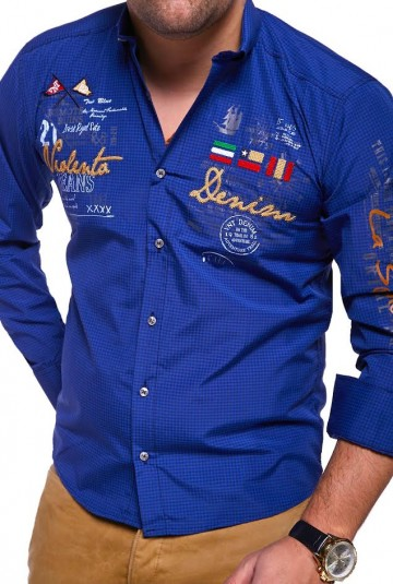 Košile s dlouhým rukávem VLNT.DENIM 2017 - modrá-černá - XL