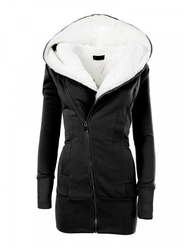 Dámská mikina s kapucí a kožíškem 8188 - černá - S