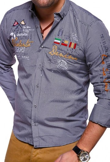 Košile s dlouhým rukávem VLNT.DENIM 2017 - černo-bílá - S