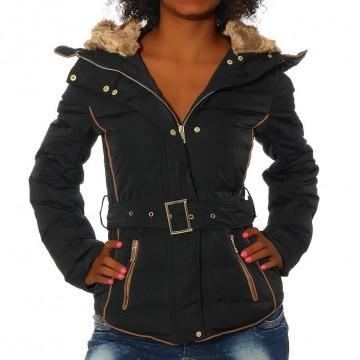 Dámská bunda s kapucí - 1630 - černá - S