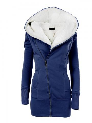 Dámská mikina s kapucí a kožíškem 8188 - tmavě modrá - L