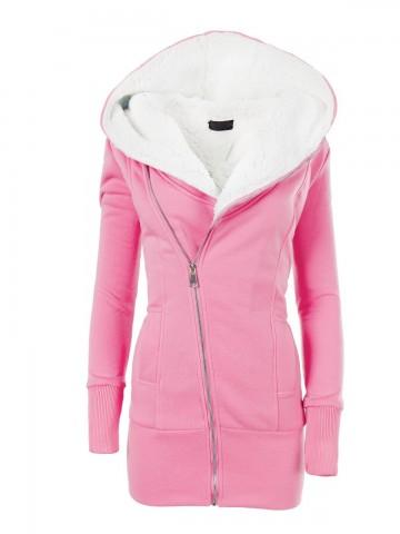 Dámská mikina s kapucí a kožíškem 8188 - růžová - XL