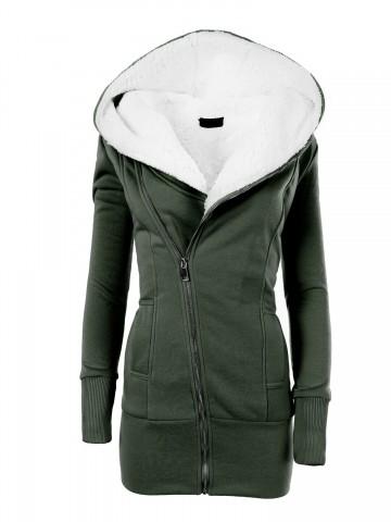 Dámská mikina s kapucí a kožíškem 8188 - khaki - S