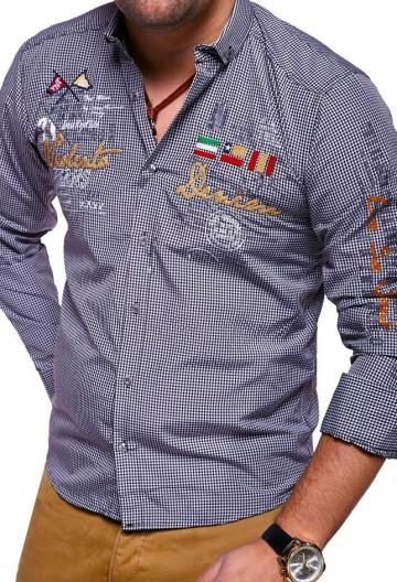 Košile s dlouhým rukávem VLNT.DENIM 2017 - černo-bílá - XXL