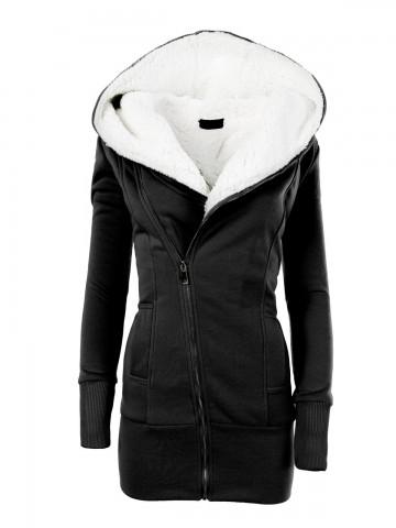 Dámská mikina s kapucí a kožíškem 8188 - černá - L