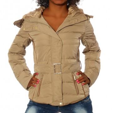 Dámská bunda s kapucí - 1630 - béžová - XXL