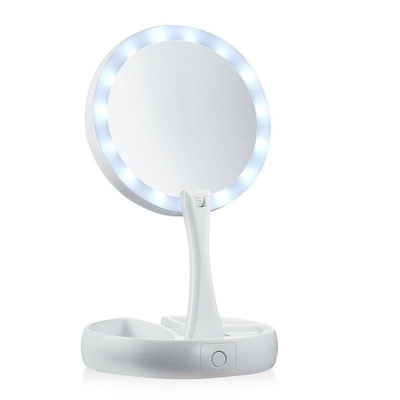 Összecsukható kozmetikai nagyító tükör LED háttérvilágítással