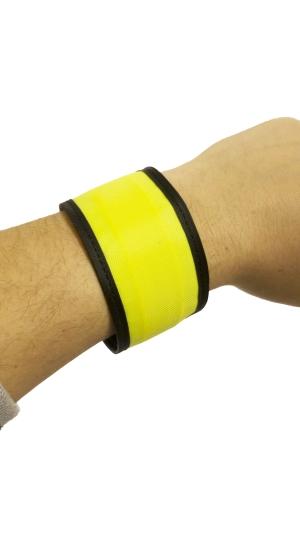 Svítící reflexní náramek, 25 cm - žlutý