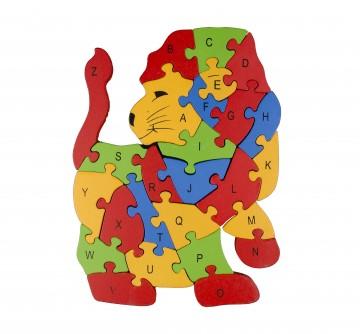 Készségfejlesztő fa puzzle - oroszlán