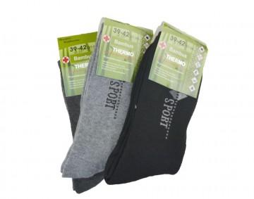 Pánské bambusové termo ponožky s nápisem sport - 3 páry, velikost 43-46