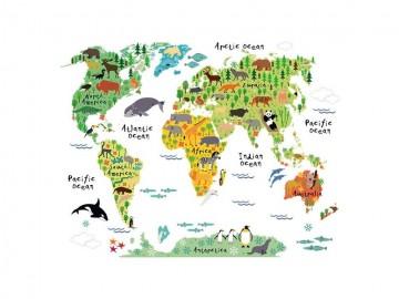 Dekorační samolepka na zeď - dětská mapa světa