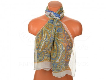 Letní šátek s motivem orientálních květin, 165x50cm - bílý
