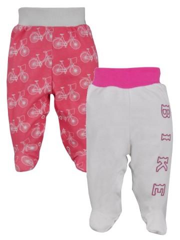 Kojenecké bavlněné polodupačky BIKE 2 ks v balení růžovo-bílé