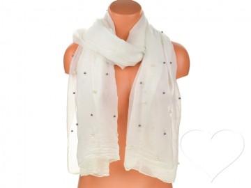 Eșarfă pentru femei de o culoare din bumbac cu perle - alb
