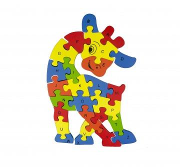 Készségfejlesztő fa puzzle - kicsi zsiráf