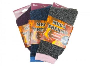 Dámské MEGA termo ponožky W1940 - barevné - 3 páry, velikost 35-38