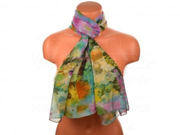 Letní šátek motiv květiny - purpurový