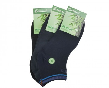 Pánské bambusové kotníkové ponožky - barevné - 3 páry, velikost 40-44