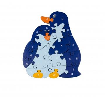 Készségfejlesztő fa puzzle - pingvinek
