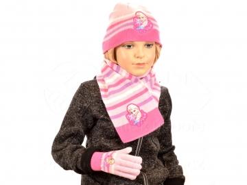Sada šála čepice a rukavice - Světle růžová