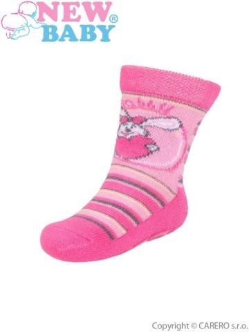 Detské ponožky New Baby s ABS ružové rabbit