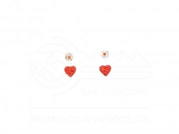 Naušnice 2 ks v balení - Červené srdce a pecka