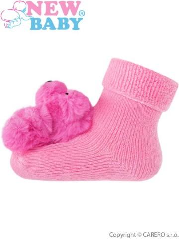 Kojenecké ponožky s chrastítkem New Baby růžové