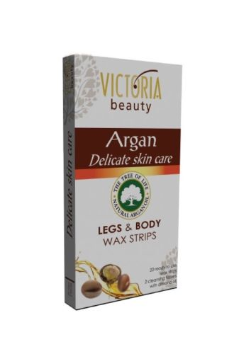 Victoria Beauty Argan - depilační pásky na tělo s arganovým olejem 20 ks + 2x ubrousky
