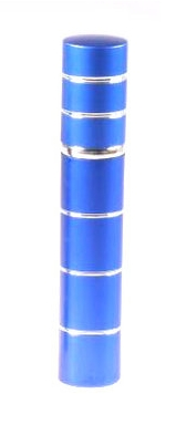 Dámský pepřový sprej ve tvaru parfému s pruhy - modrý