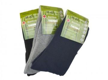 Bambusz termo zoknik - színes - 3 pár, méret 43-46