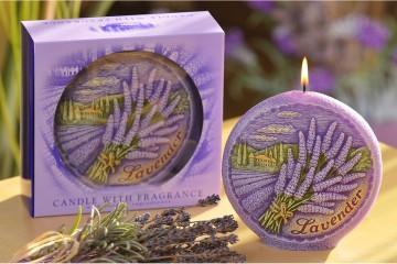 Dekorativní vonná svíčka - levandule, plastický dekor, 450g