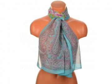 Letní šátek s motivem orientálních květin, 165x50cm - tyrkysový