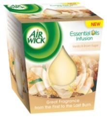 Air Wick vonná svíčka ve skle - Vanilka a hnědý cukr, 105g