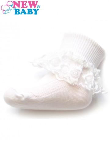Dojčenské bavlnené ponožky s čipkovaným volánikom New Baby biele