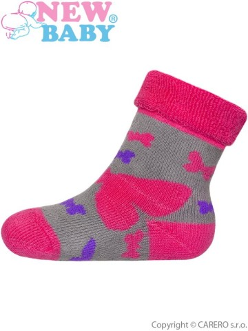 Dětské froté ponožky New Baby šedo-růžové s motýlem