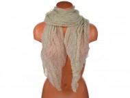 Letní šátek s motivem květů, 170x75cm - béžový