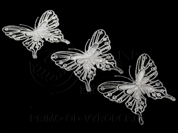 Dekorační motýl 3ks stříbrný