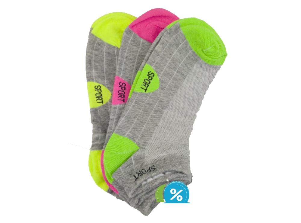 Dámské kotníkové bavlněné ponožky Pesail LW090 - 3 páry, velikost 38-42