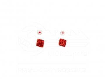 Naušnice 2 ks v balení - červená kostka a pecka