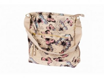 Látková taška s motýly - béžová