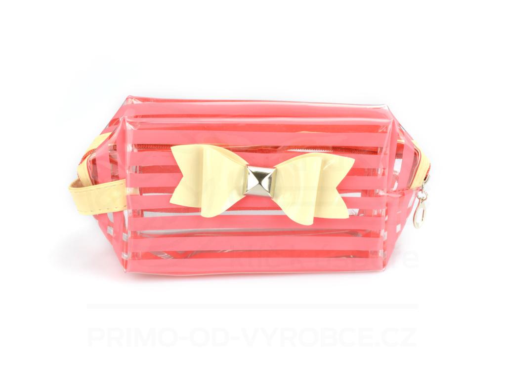 Kosmetická taška průhledná - růžová