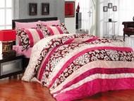 BIANCO luxusní Francouzské saténové povlečení Clasic růžové 200x220+2x70x80