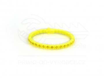 Náramek gumový s kamínky - žlutý