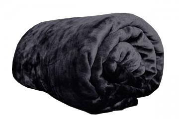 Pătură din microflanel, dimensiuni 150x200 cm - neagră