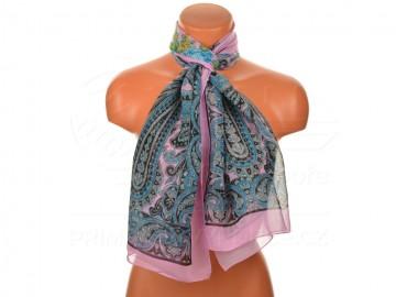 Letní šátek s motivem orientálních květin, 165x50cm - světle fialový