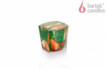 Vonná svíčka ve skle – Vánoční zahrada -  hruška, skořice a brusinka, 115g