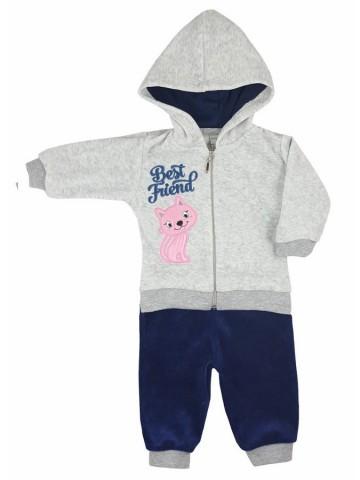 2-dielná semišková dojčenská súprava Koala Best Friend dievča tmavo modrá
